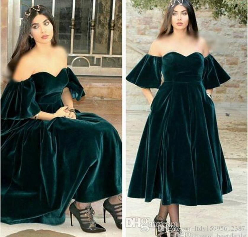 New Design 2019 Sweetheart Velvet Prom Dresses Short Sleeves Vestido de festa Kaftan Formal Evening Gowns Dark Green Cocktail Dresses 410