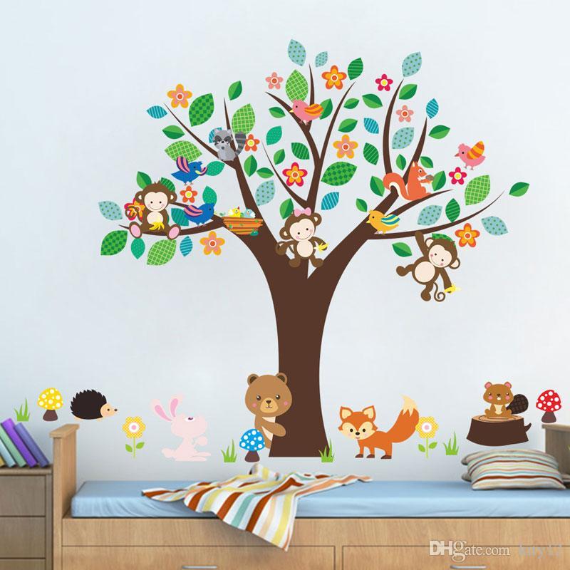 حيوانات الغابة شجرة القرد الدب إزالة ملصقات الحائط صائق muraux الحضانة غرفة ديكور ملصقات الحائط ل غرف الاطفال