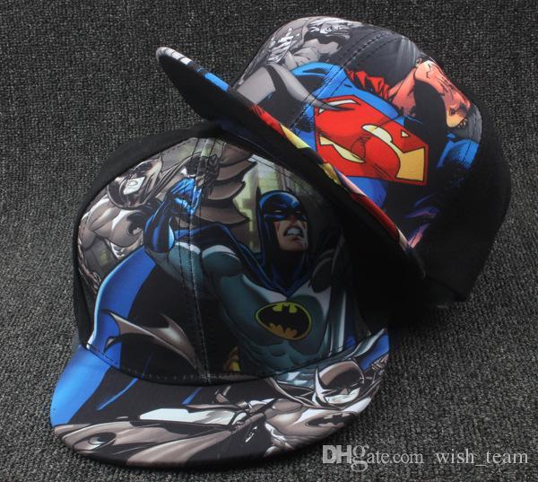 56e1b6de189a2 New Kids Baseball Caps Fashion Superman Batman Children Snapback Caps  Gorras Planas Boys Hip Hop Hat Summer Hats Baseball Hat Online with   3.9 Piece on ...