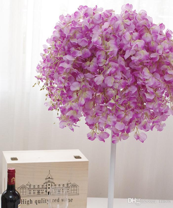 DIY Artificial Blanco Wisteria Flor de Seda Para el Hogar Fiesta de Bodas Jardín Decoración Floral Salón Día de San Valentín Centro de mesa Decoración de mesa