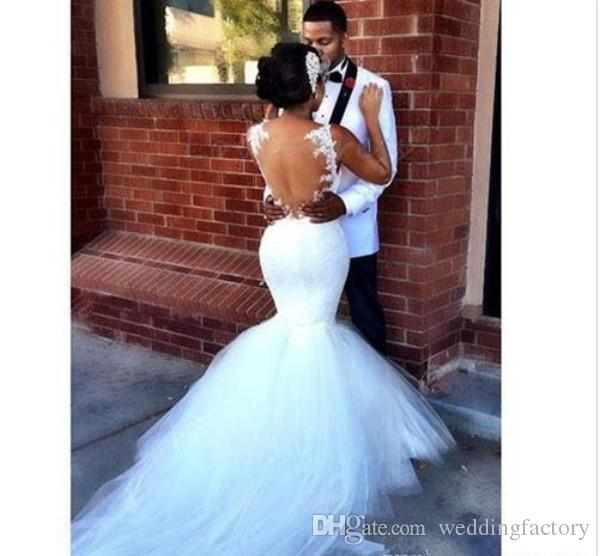 Sexy Mermaid Wedding Dresses Sweetheart Spaghetti Straps Lace Appliques Sheer Back Fit and Flare Trumpet Tulle Bridal Gowns with Train
