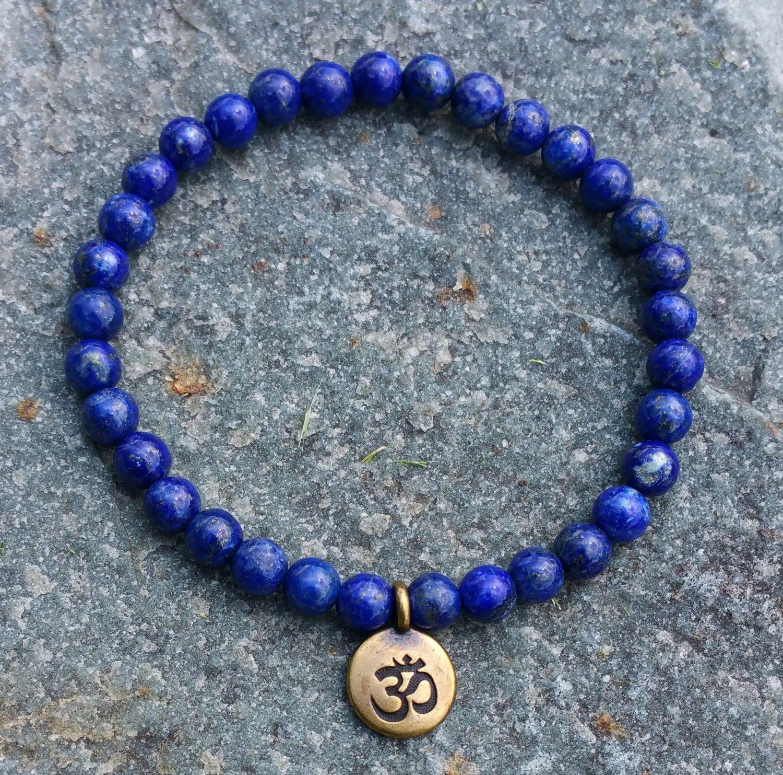 SN1106 Toptan El Yapımı Boncuklu Bilezik 6mm Lapis Lazuli Doğal Taş Boncuk Antik Pirinç Ohm Lotus Buda Charm Bilezik
