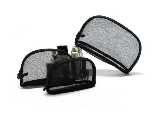 Fashion black gauze makeup bag visible mesh yarn cosmetics bag organizer S/M/L or a set