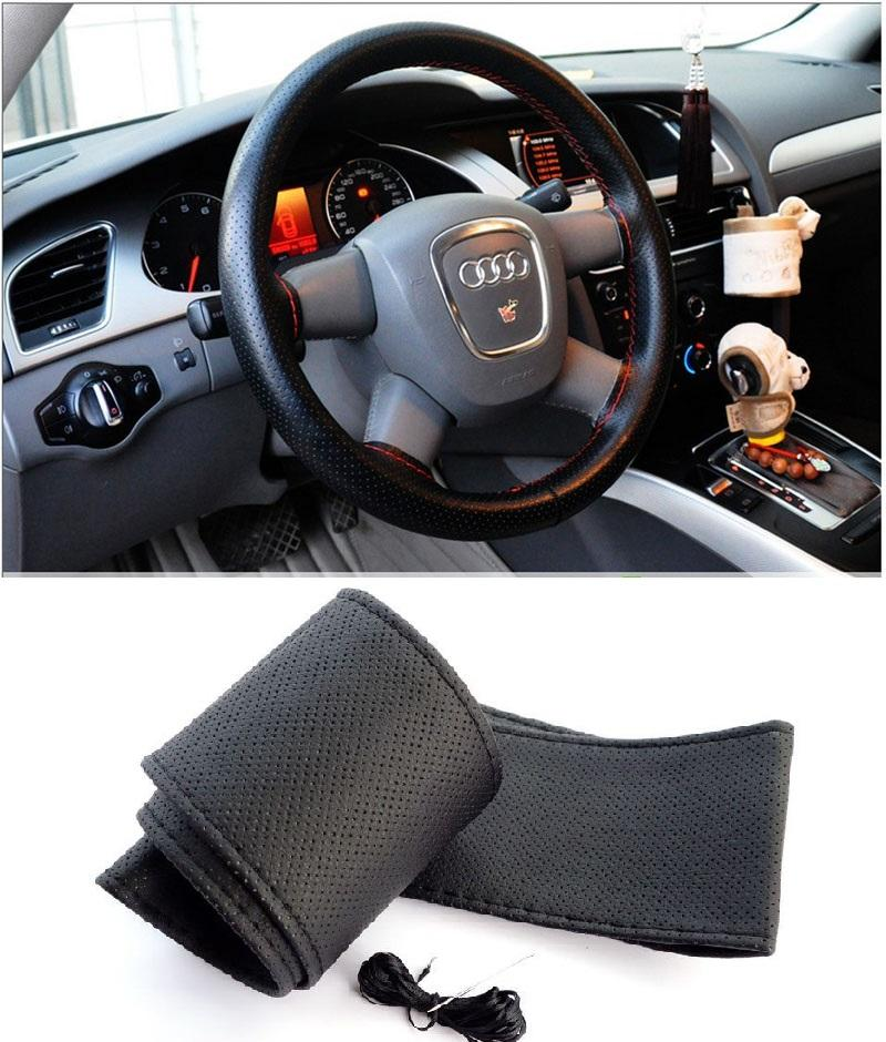 2016 Hot Sale New Universal Anti-slip Breathable Microfiber Leather DIY Car Steering Wheel Cover Case With Needles and Thread ZB0299