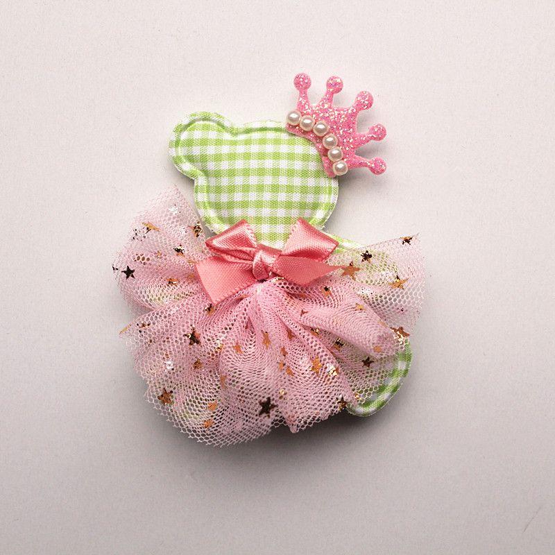 New Princess Baby Girls Character Bears Shape Hair Clips Glitter Felt Crown Hair Bows Pink Gauze Ribbon Bowknot Hairpins