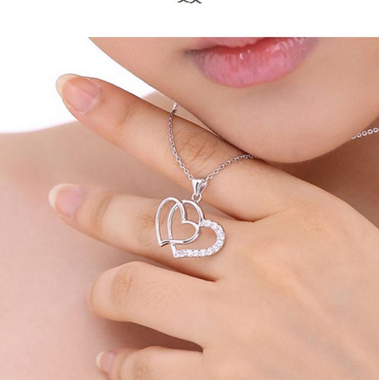 Сердце женщины кулон ожерелье 925 серебро любовь шарм преувеличенное двойное сердце ожерелье кристалл кулон ювелирные изделия для женщин мода