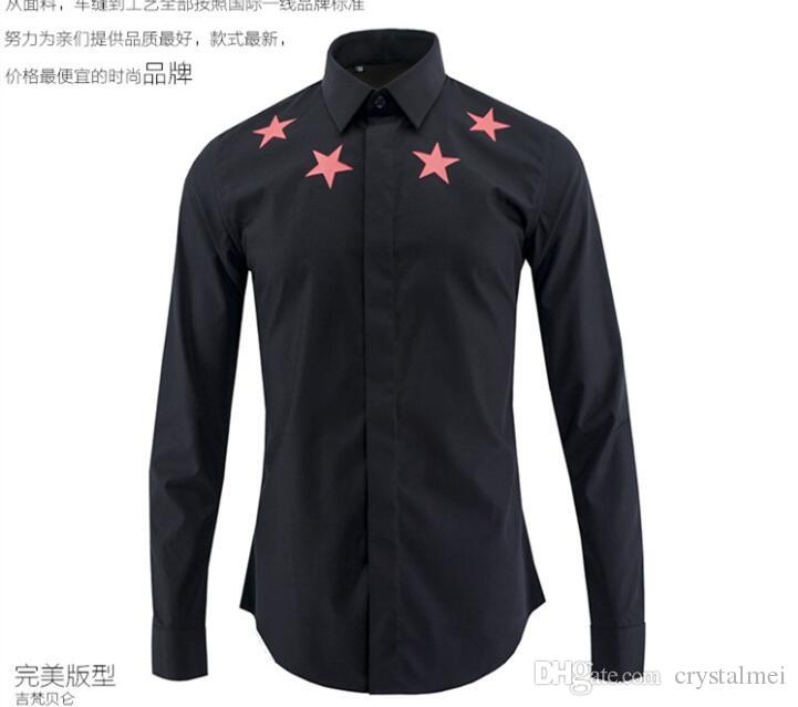 2016 New Arrival European and American Fashion Red Five Star Printed Style Famous Design Slim Mens Casual Long Sleeve Shirt