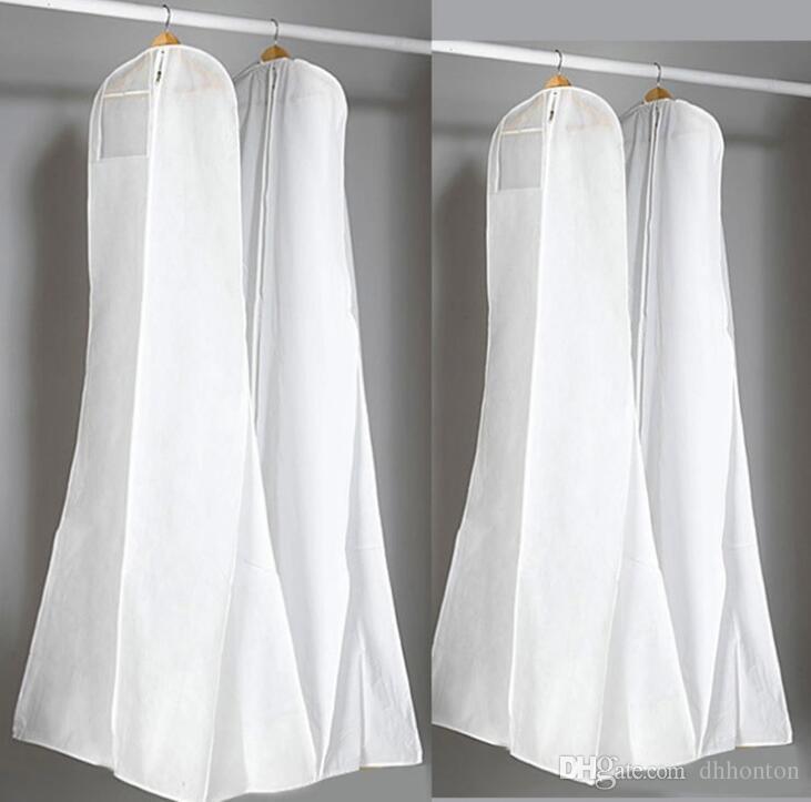 Gran 180 cm vestido de boda vestido bolsas de alta calidad bolsa de polvo blanco larga ropa cubierta de almacenamiento de viaje cubiertas de polvo caliente venta HT115