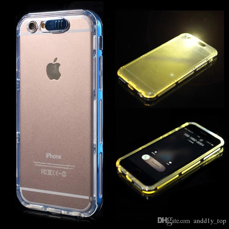 reputable site 2bc3b ecf69 2016 For Iphone 7 Incoming Call Flash LED Light Up Case for iPhone 6 6s  plus Soft Clear TPU Cover Case