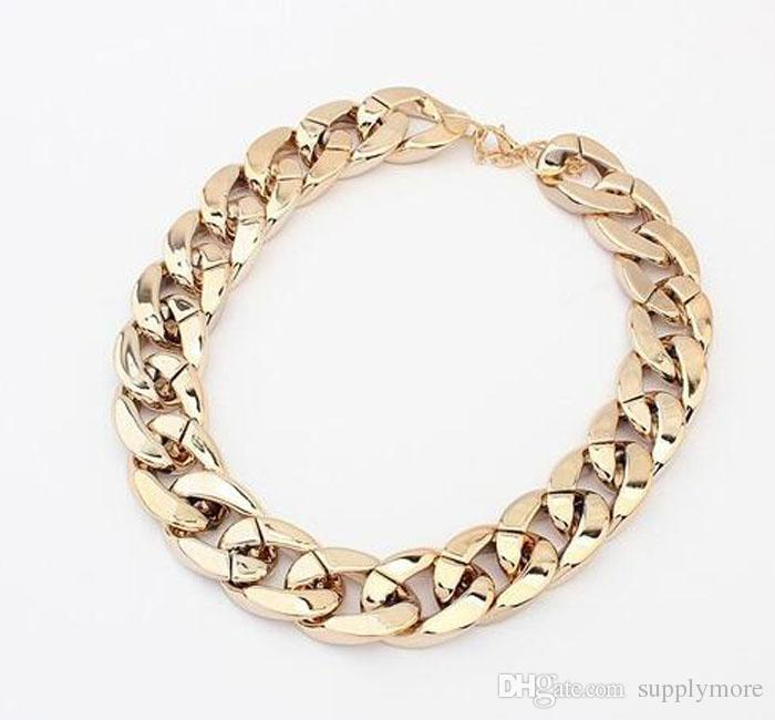 Major Suit Coarse Chain Simple Fake Metal Necklace Women Choker Necklace Gold Silver Black