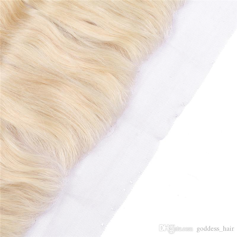 13*4 613 Lace Frontal Closure Swiss Lace Frontal Body Wave Blonde Human Hair Closure Top Full Lace Frontal Bleached Knots With Baby Hair