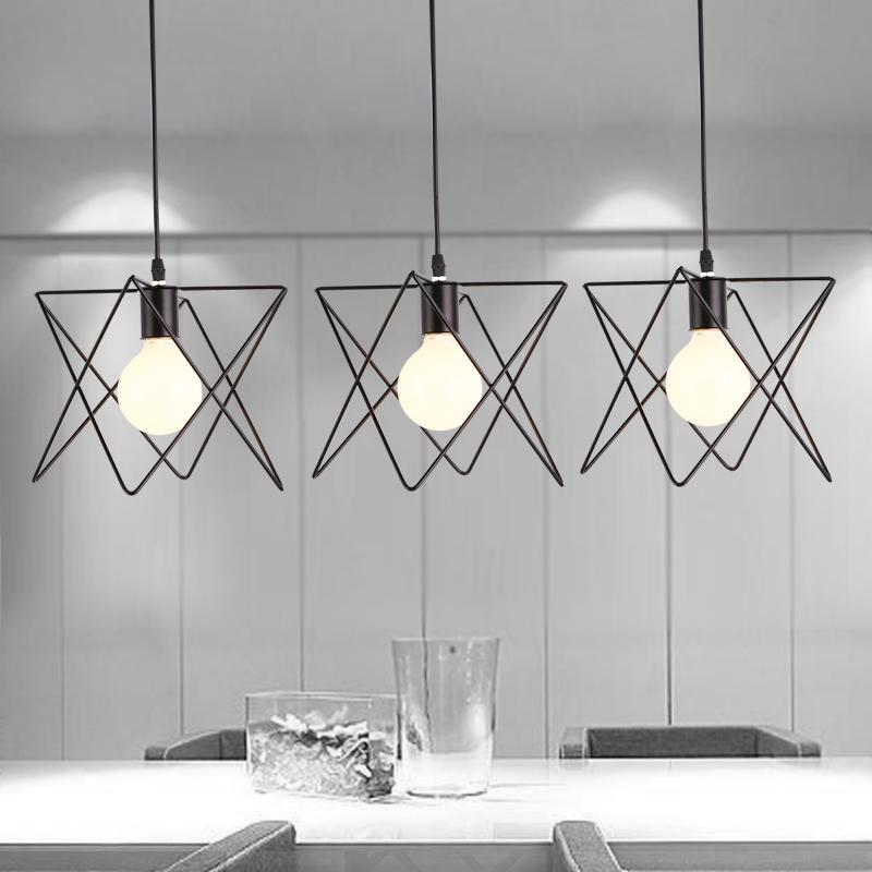 Discount Creative Chandelier Wrought Iron Bar Coffee Shop Dining Room Lamp Droplight Rural Pendant Counter Commercial Lighting