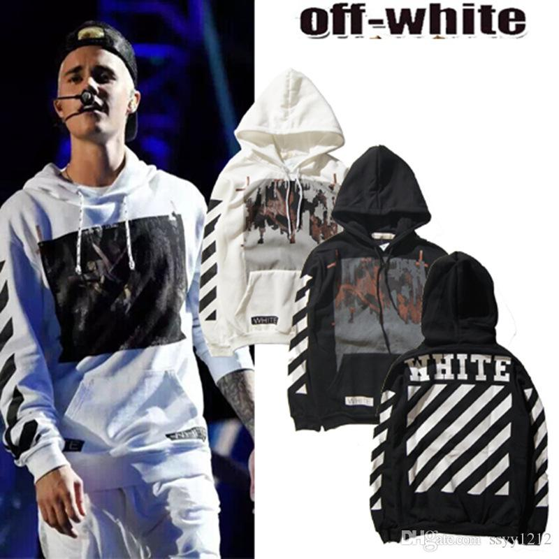 Justin Bieber Same Hoodie Men OFF WHITE Hooded Sweatshirts Striped Printing Hoodies  Sweatshirts Mens Plus Size M XXL Black White Pullovers UK 2019 From ... 54a64795beae