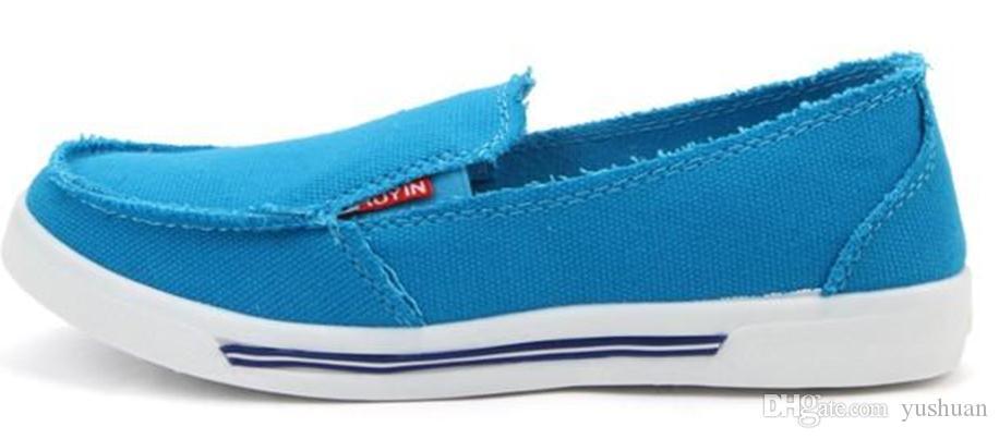 vente chaude femmes mocassins coloré slip on toile chaussures respirant chaussures bateau chaussures couleur néon femmes mode