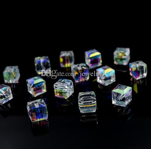 300 unids AB Color Crystal Square Beads para la fabricación de joyas de vidrio decorativo DIY Beads Material Crystal Cube Beads 4 6 8mm