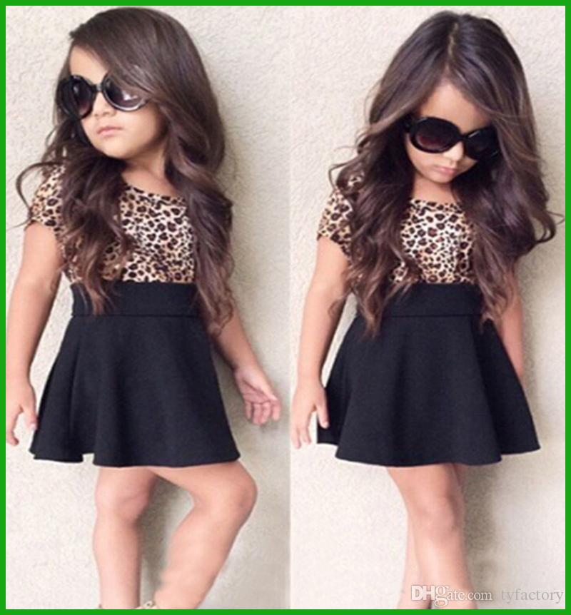 new arrival tyfactory 2016 baby girls dress suits kids leopard print black short vestido chiildren clothing outfits short sleeve t-shirt