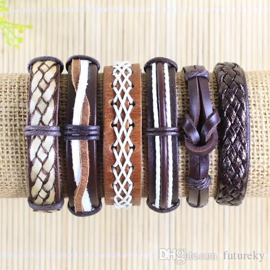 Ретро Handmade bangels Оптовый /  Brwon этнический племенной подлинный регулируемый кожаный браслет для мужчин -L80
