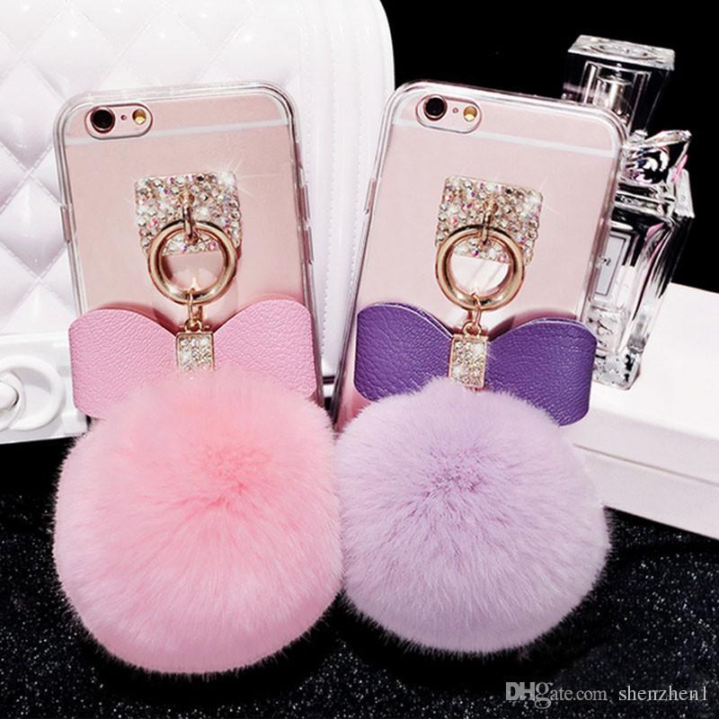 online store 3fdfb bd6c3 For iPhone 7 Plus Mirror Case Soft TPU Case Furry Ball Tassel Fur Ball Case  For iPhone 7 iPhone 6S Plus SCA232