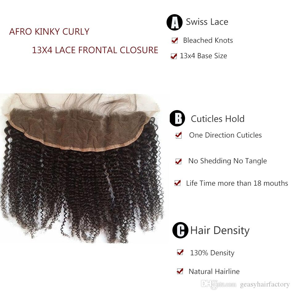 Mongolian Afro Kinky Curly Lace Frontal Closure Bleached Knots 13x4 With Baby Hair Can Be Dyed 100% Human Hair LaurieJ Hair