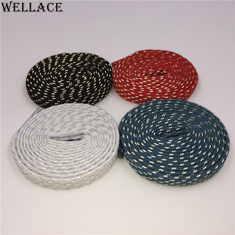Wellace 3M flat reflective laces black shoelaces sport shoe laces custom design boots shoelaces wholesale 0.7cm width 120cm
