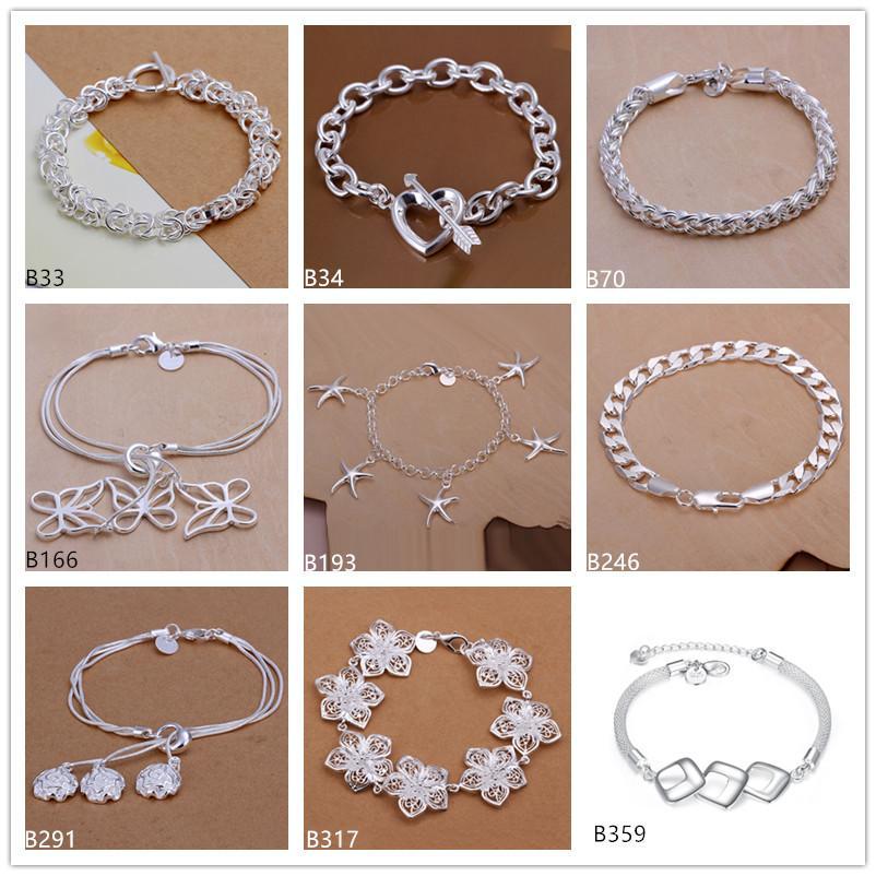 Pulsera de placa de plata de las mujeres 925 de la moda 8 piezas mucho estilo mezclado, mariposa flor de corazón plateado plateado pulsera pulsera dfmb33