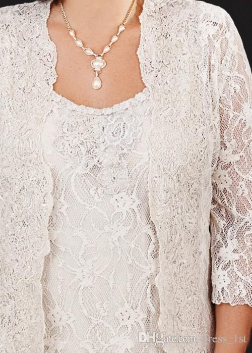 Vintage 2019 Ivory Lace Mother Of Bride Dresses Long Sleeve Jacket Ankle Length Plus Size Dress For Mother of The Groom