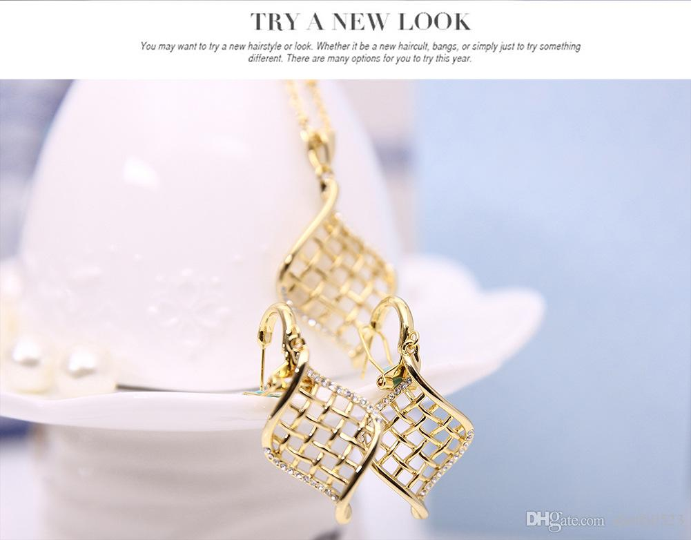 18kgp Grid Simple Jewelry Sets Fashion Crystal Necklace Earrings Set For Women Best Gift min order 61152210