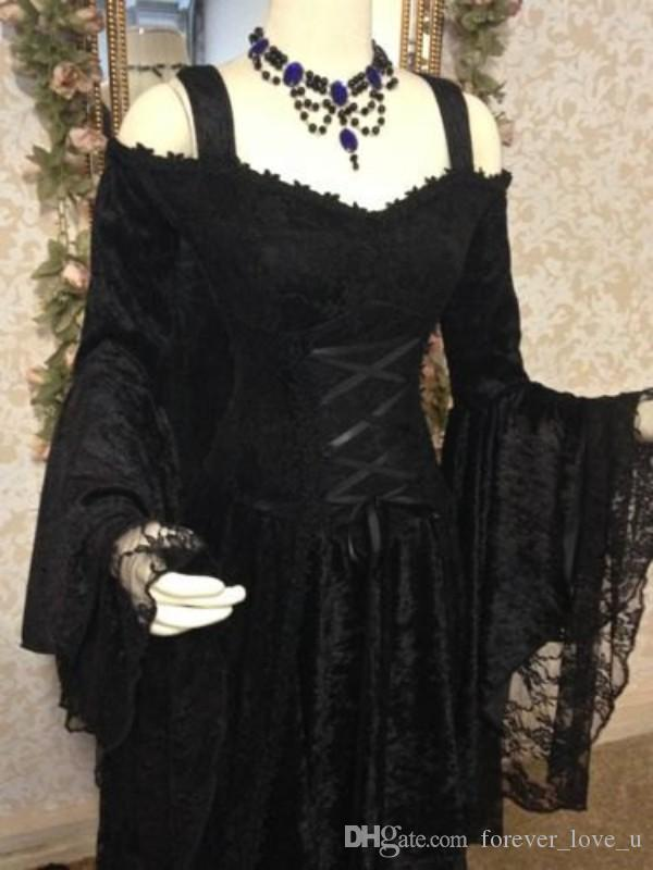 Vintage Black Gothic Wedding Dresses A Line Medieval Off the Shoulder Straps Long Sleeves Corset Bridal Gowns with Court Train Custom Made
