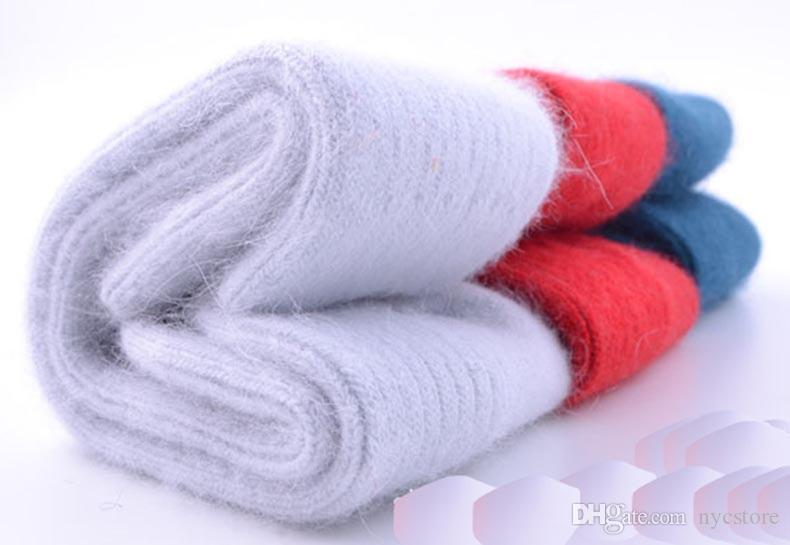 Mujeres gruesas calcetines de lana de conejo para otoño invierno cálido engrosamiento calcetines de lana de cordero termal calcetín sólido dulce para mujeres