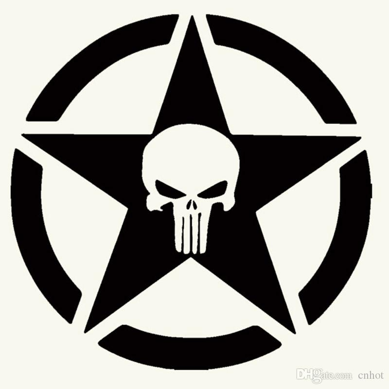 50cm x 50cm punisher military army star car sticker for cars side truck window auto suv door kayak vinyl decal punisher military army star for cars door