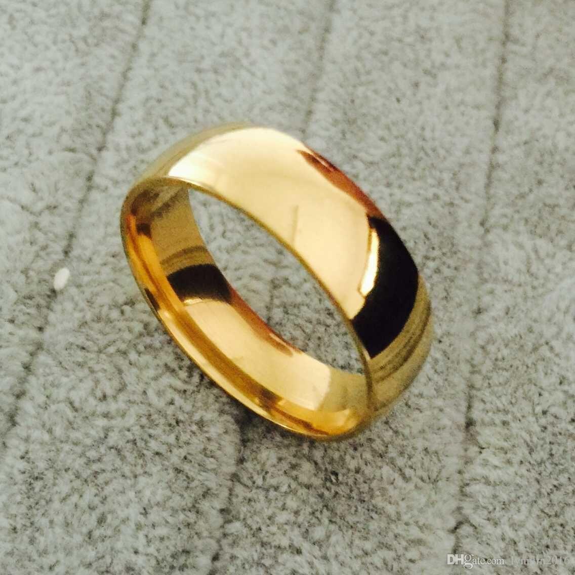 Clássico de largura 8mm homens anéis de casamento de ouro Real 18 K Ouro preenchido 316L anéis de dedo de Titânio para homens NUNCA DESVANECE EUA tamanho 6-14