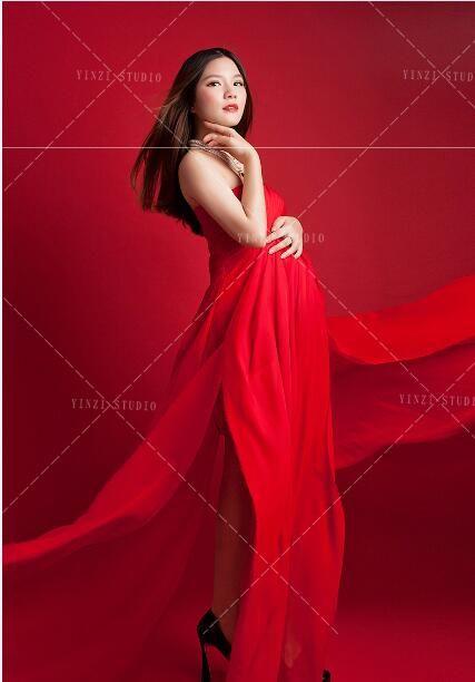 European style Maternity dresses Maternity Photography Props Chiffon Dresses Off Shoulders Maxi Pregnant Dresses Pregnancy Photo Shoot