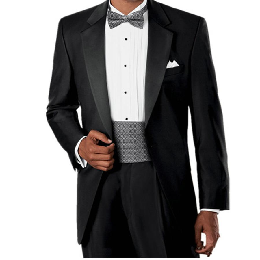 Custom made trajes de novio 2016 hombre black wedding suits for groom prom dresses and tuxedo Jacket+Pantsgroom wear
