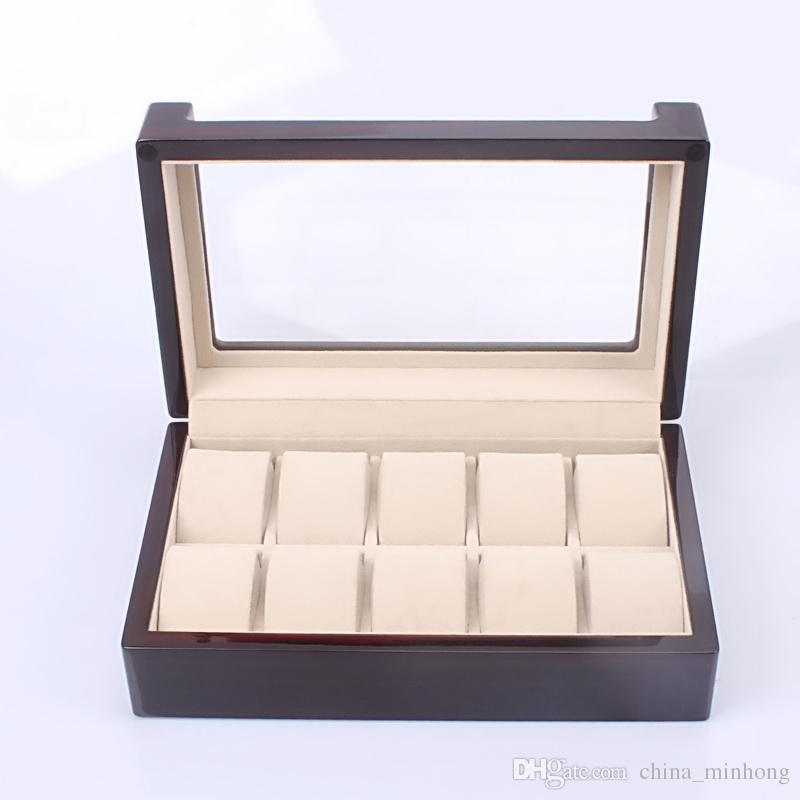 Wholesale Wooden 10 Slots Watch Box Leather Display Case Organizer Top Glass Jewelry Storage Black High Quality
