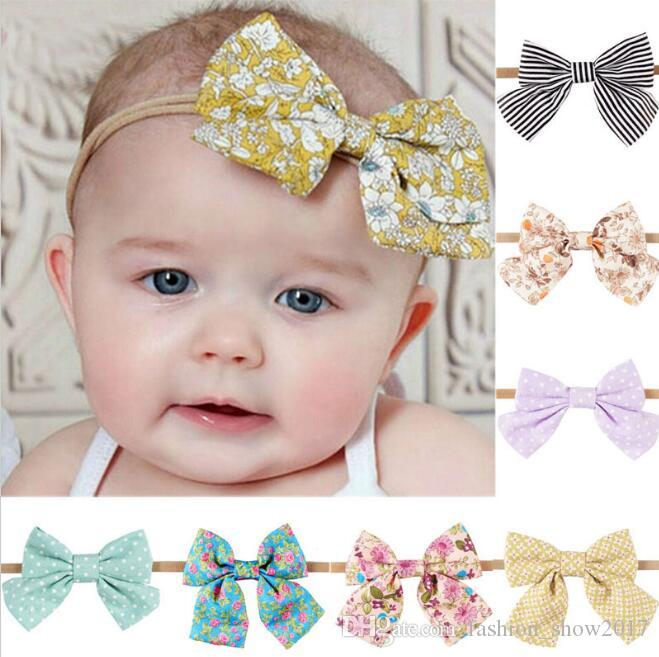 High Quality Nylon Headband With Fabric Bow For Kids Bebe Girls Handmade  Boutique Hair Accessories Headwear Childrens Hair Accessories Bows And Hair  ... 5fc1f23ae80