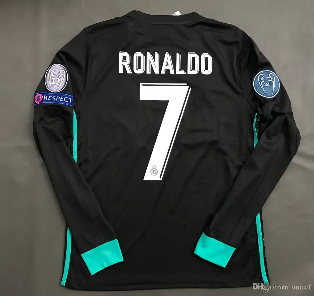 newest 1bd99 91ea3 cristiano ronaldo black jersey long sleeve