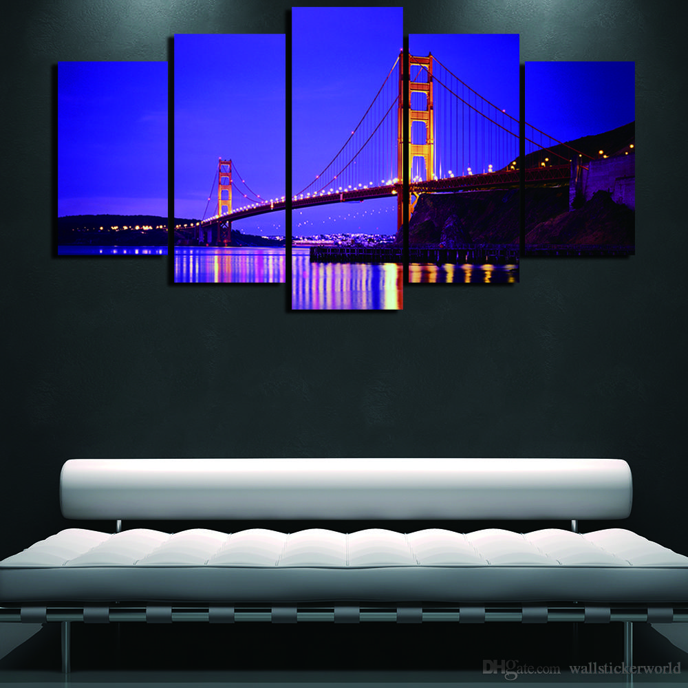 Golden Gate Bridge Art Painting San Francisco Picture Wall Art Canvas Painting Home Decor for Living Room