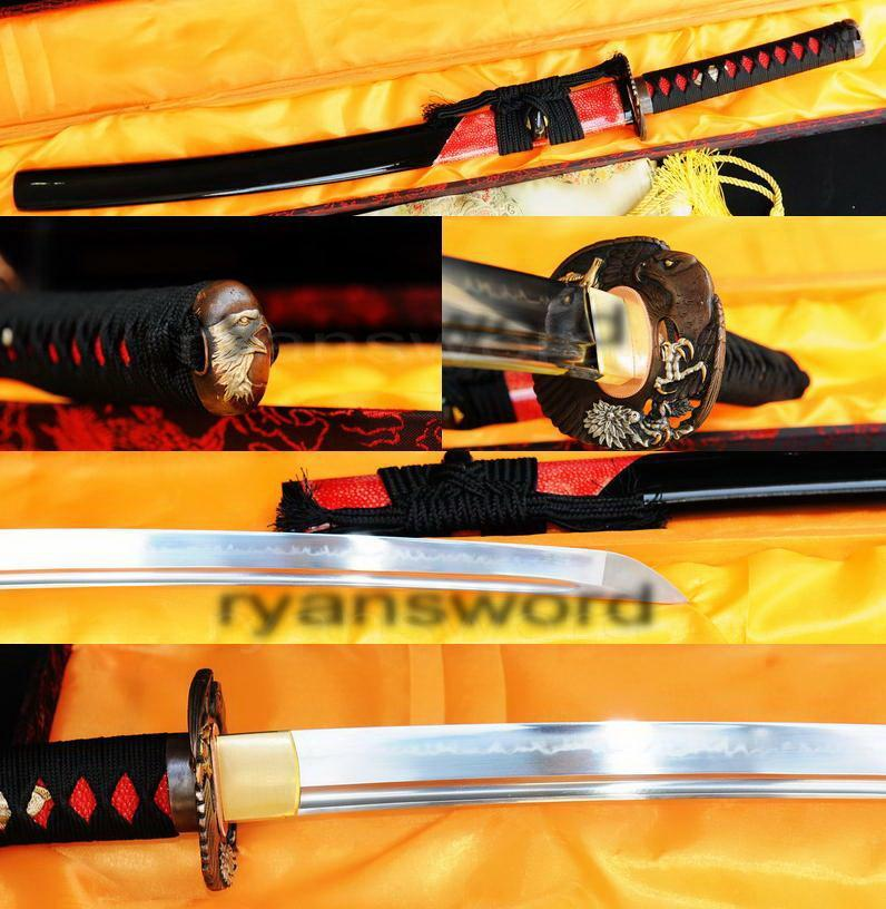 High Quality 1095 Carbon Steel Clay Tempered Japanese Samurai Wakizashi Sword sj02