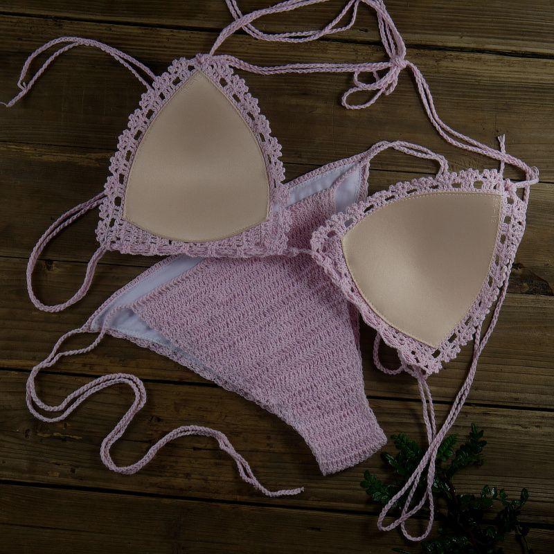Handmade Crochet Swimwear Halter Top - Hippie Top - Sexy Bikini SET Women Crop Top - Crocheted Festival Top + bottom 13 Colour