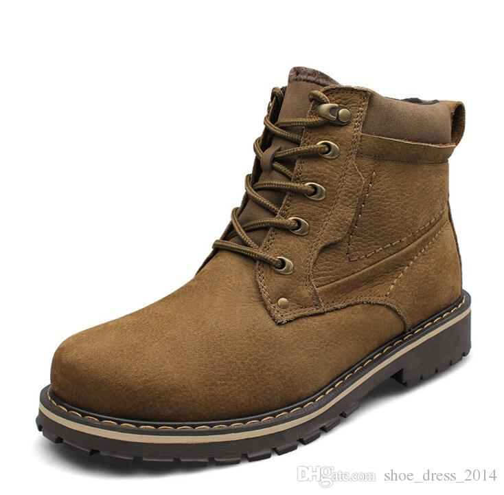 Hot Selling Men Boots Super Warm Snow Boots 100% Genuine Leather Boots Plus Size Waterproof Rubber Winter Shoes