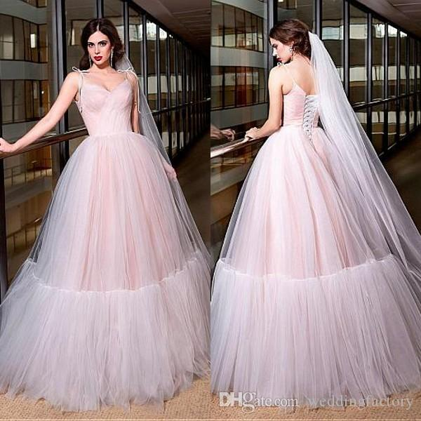2017 New Ball Gown Wedding Dresses Colorful Blush Pink Spaghetti Straps Ruched Soft Tulle Floor Length