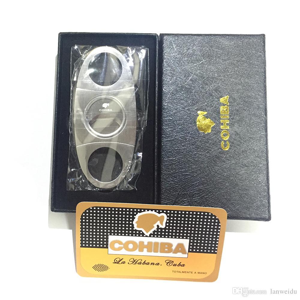 박스 포켓 크기 칼로 코 히바 패션 고급 휴대용 실버 스테인레스 스틸 시가 커터 칼, 가위 컷 담배 시가 장치