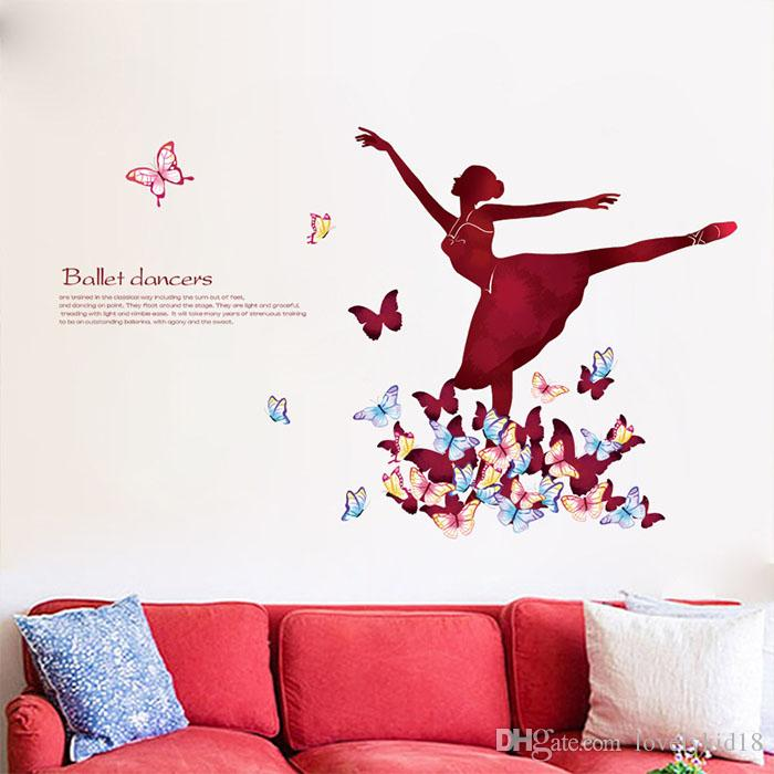 Elegant Ballet Dance Girls Wall Stickers Butterfly Wall Decals For Bedroom  Living Room Home Decorations Ws568 Wall Art Stickers Wall Art Stickers  Quotes. Elegant Ballet Dance Girls Wall Stickers Butterfly Wall Decals For