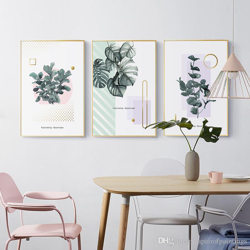 Good Großhandel Einfache 3 Gemälde Für Die Grüne Blätter Nordic Home Dekoration  Layout Room Kunst Leinwand Wandaufkleber Aufkleber Von Apairofpaintings, ...