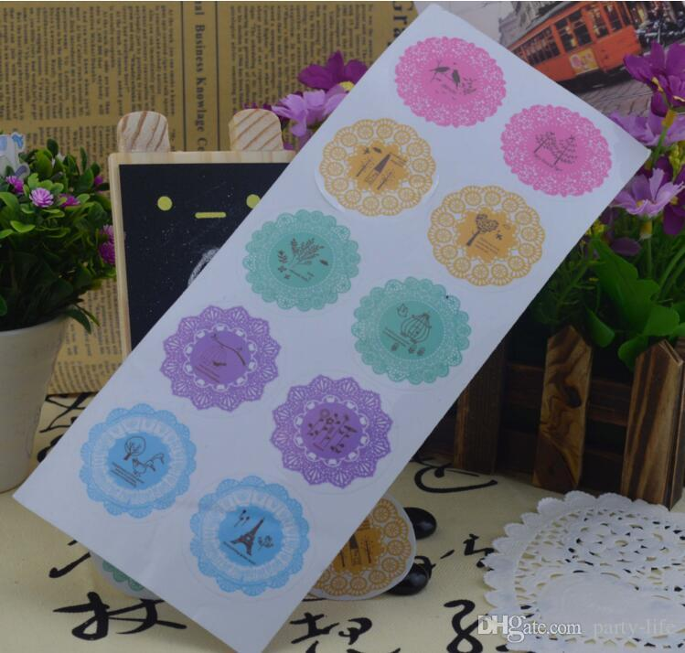 500sheets  Cute Style Lace Transparent Round Sealing Diary Sticker Decoration DIY For Scrapbook Envelopes Gift Package