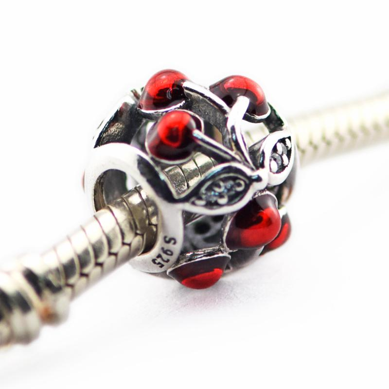 2016 new summer 925 sterling silver loose beads Sweet Cherries Openwork CZ Fits Pandora Style Jewelry Bracelets & Necklace DIY charms