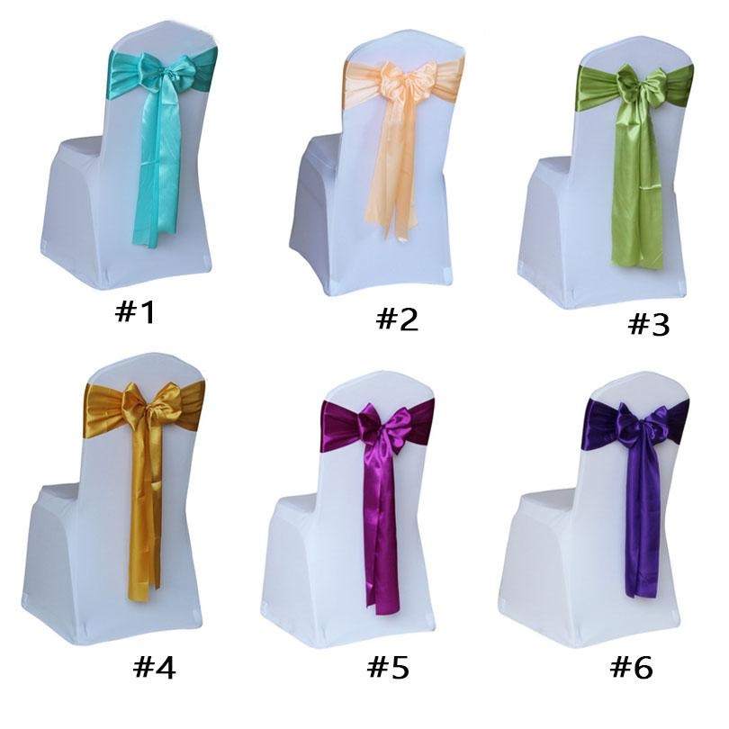 Champagne Satin chair sashes bow ties for Wedding party Christmas decoration ornament 7*108'' linen table runner skirt wrapping gift overlay