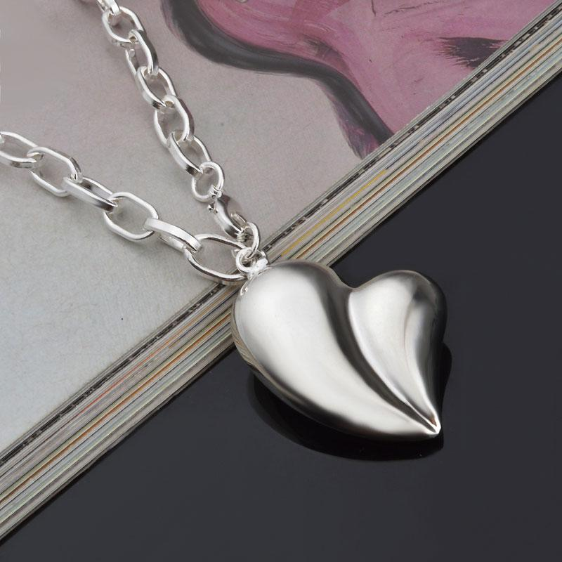 Long Necklace Women Love Heart Pendant Bohemian Jewelry Fashion Ornaments 925 Sterling Silver Overlay Necklace Chain For 2016 Hot On Wish