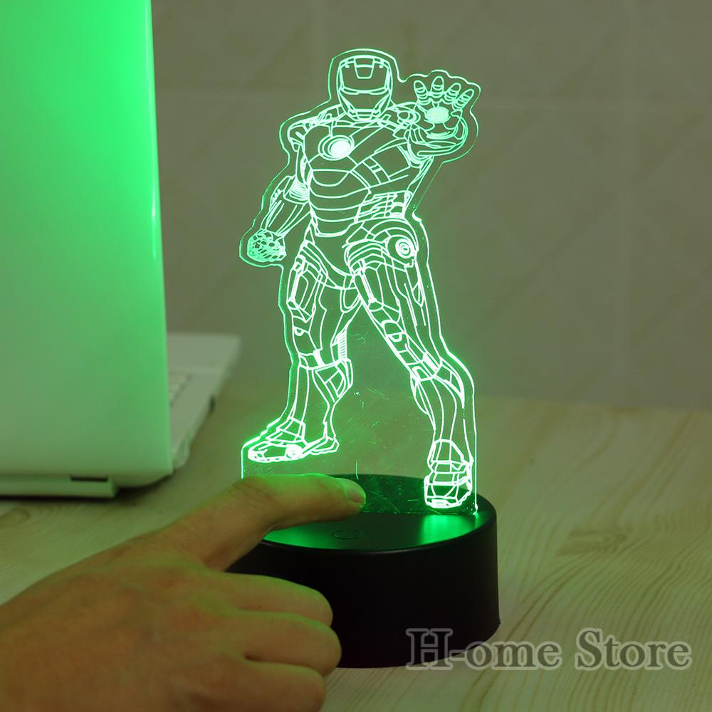 2018 Wholesale Standing Iron Man 3d Visual Led Night Lights For Kids ...