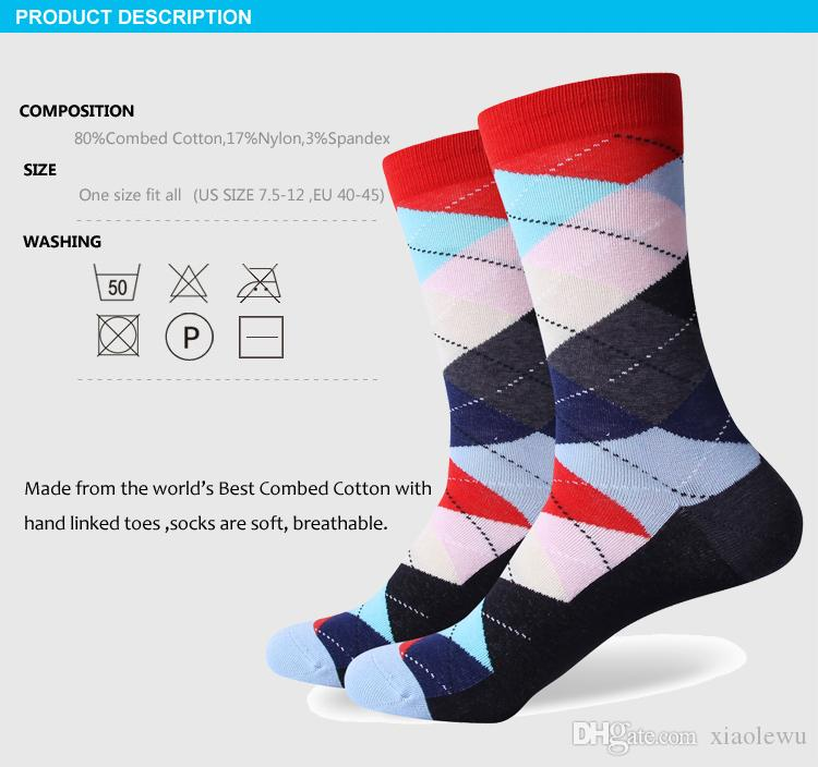 Calcetines de los hombres de la marca del algodón peinado de 2016 hombres, calcetines a cuadros coloridos, envío libre, tamaño de los EEUU 7.5-12 296